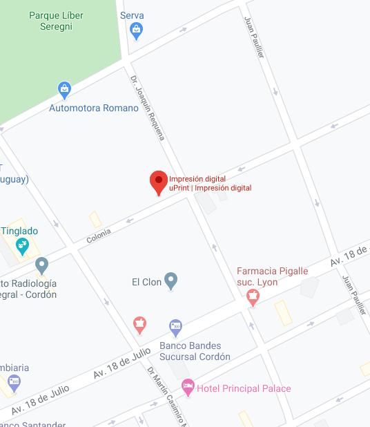 Mapa con ubicación de uPrint